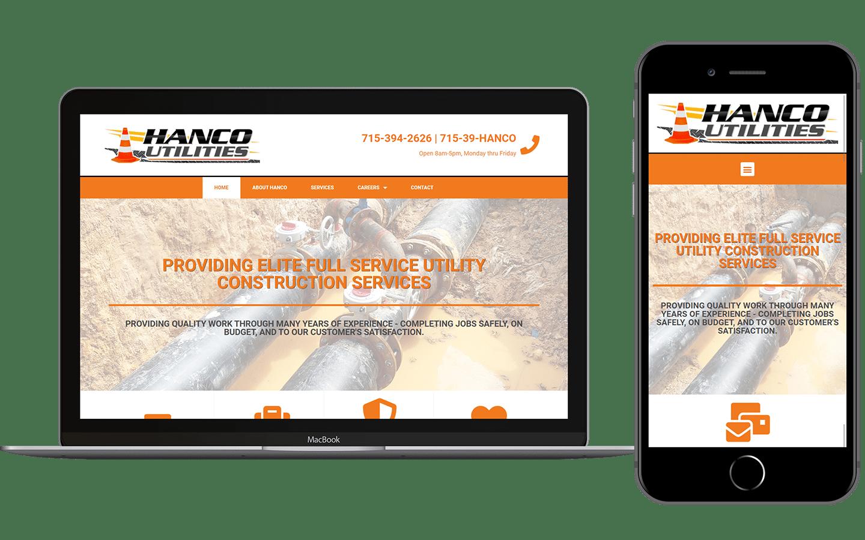 Hanco Utilities Website Mockup
