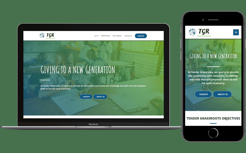 Tender Grassroots Website Mockup